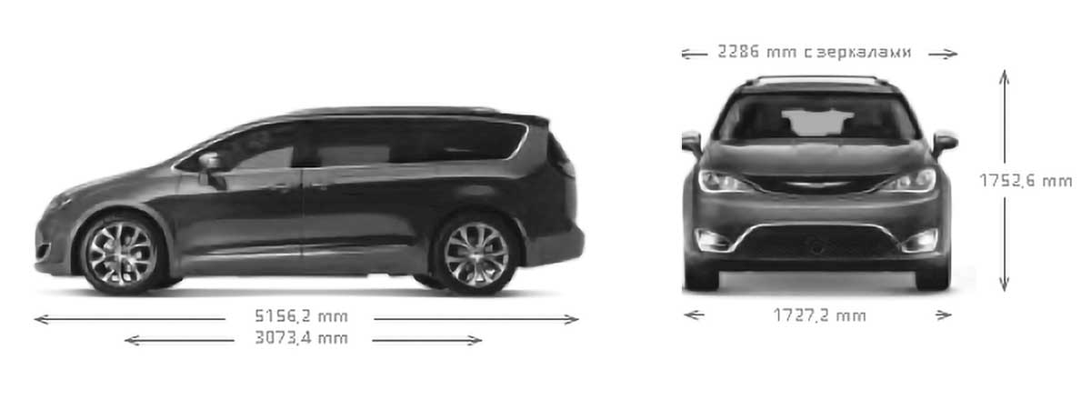 Chrysler Pacifica Hybrid, размеры.